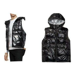 Calvin Klein Men's Hooded Puffer Vest Metallic